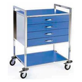 Chariot d'urgence couleur 4 tiroirs + niche
