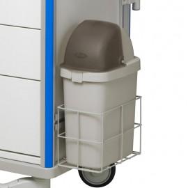 Poubelle avec couvercle pour chariot médical
