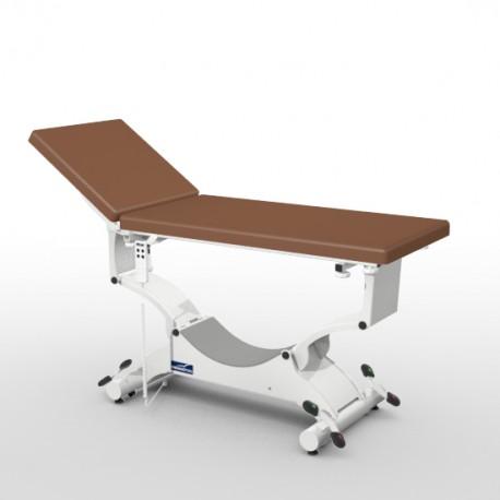 Divan d'examen électrique Promotal QUEST déclive proclive sur roulettes escamotables, sellerie plate 65 cm