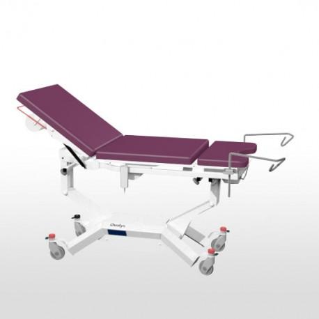 Divan d'examen électrique Promotal 3 parties Iduolys sur roulettes 125 mm et étriers sur étaux