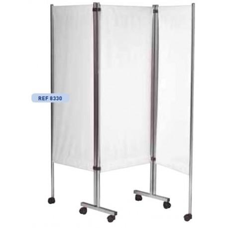 Paravent mobile 3 panneaux structure inox