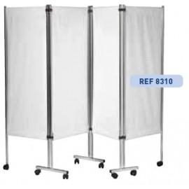 Paravent mobile 4 panneaux structure inox