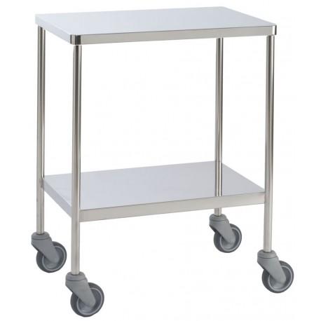 Table à instruments tube rond 2 plateaux