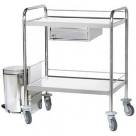 Chariot inox à pansements 2 plateaux bords relevés 1 tiroir poubelle extérieure