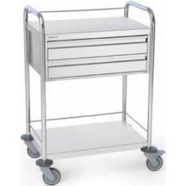 Chariot inox 2 plateaux avec galeries et 2 tiroirs