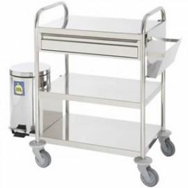 Chariot inox à pansements 3 plateaux 1 tiroir poubelle extérieure