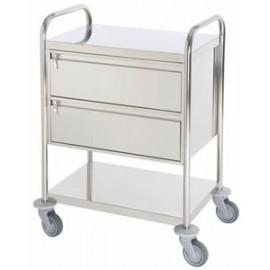 Chariot inox 2 plateaux avec 2 grands tiroirs fermeture à clef