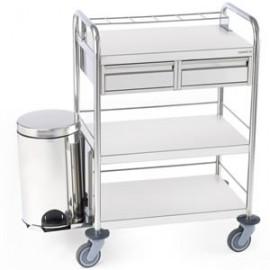 Chariot inox à pansements 3 plateaux 2 tiroirs poubelle extérieure