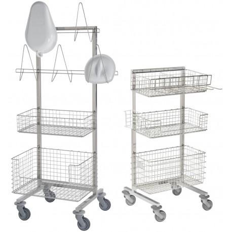 Chariot de stérilisation 1 face 2 modèles présentés ici avec différents accessoires