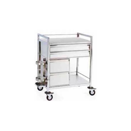 Chariot d'urgence inox 4 tiroirs (support obus vendu séparément)