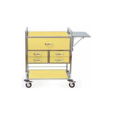 Chariot d'urgence couleur 5 tiroirs + niche et accessoires
