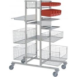 Chariot de stérilisation 2 faces avec stockage central - 12 niveaux présenté ici avec différents accessoires