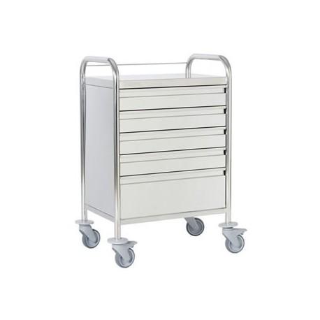 Chariot d'urgence inox 5 tiroirs + galerie