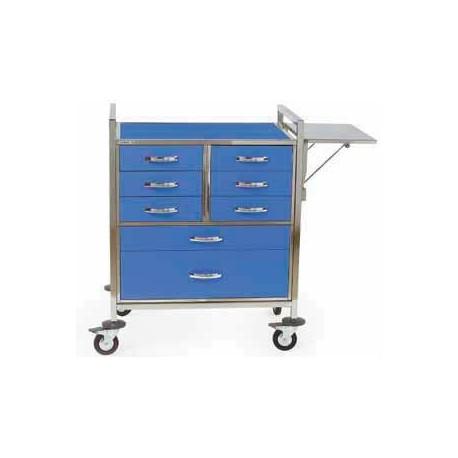 Chariot d'urgence couleur 8 tiroirs + accessoire