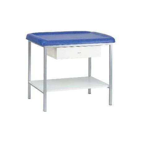 Table de pédiatrie sur 4 pieds laqués + plateau inférieur + tiroir