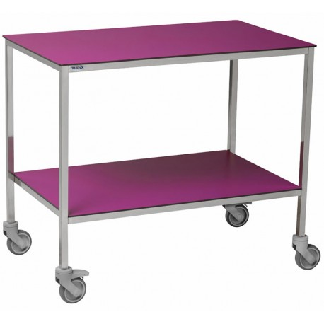 Table à instruments 2 plateaux résine 1000 x 600 mm équipée ici de 2 roulettes à frein, REF 2045AF