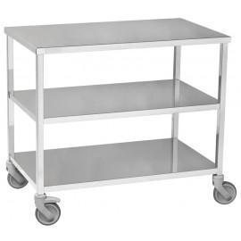 Ref 11960-F: Table à instruments charges lourdes 3 plateaux Dim 1180x600 avec 2 roues à frein