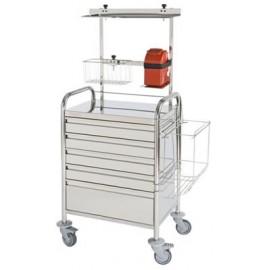 Chariot d'urgence inox haut 5 tiroirs + accessoires