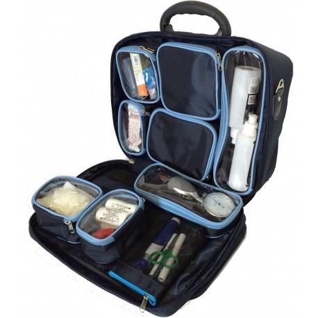 Mallette médicale VIABAG de MEDBAG ouverte avec 9 compartiments détachables