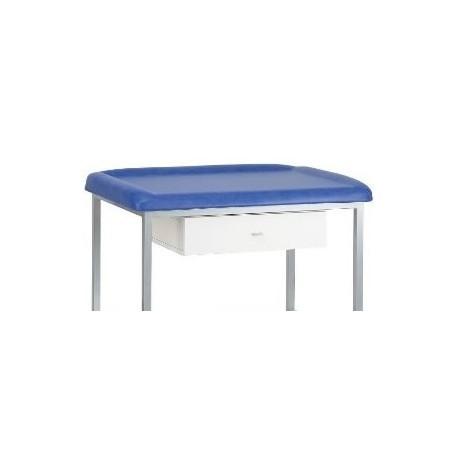 Table de pédiatrie sur 4 pieds laqués + tiroir