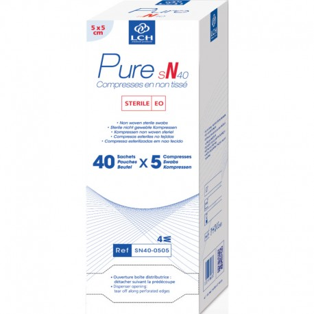 Compresses stériles en non tissé Pure SN, la boîte de 40 sachets individuels de 5