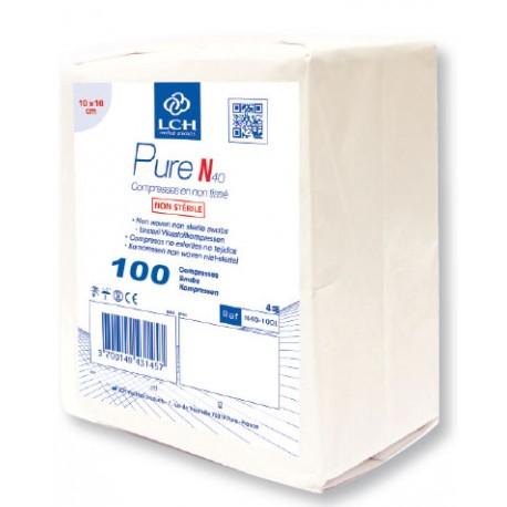 Compresses non tissé non stériles Pure N le sachet de 100 compresses