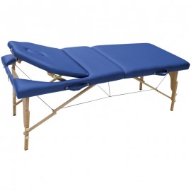 Table de massage pliable WOOD PLUS, coloris bleu