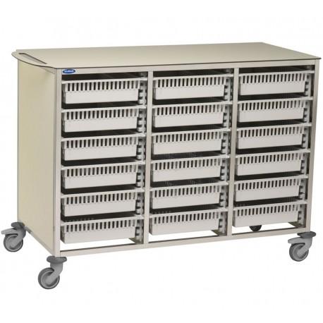 Chariot modulaire Tourinox 18unités en résine composite - Bacs tiroirs vendus séparements