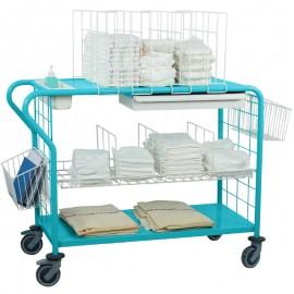Chariot de change et de toilette pour 20-30 personnes, coloris bleu pop, équipé d'options