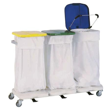 Chariot porte sac triple avec couvercles et pédales