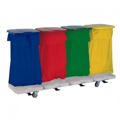 Chariot porte sac 4 sacs avec couvercles et pédales