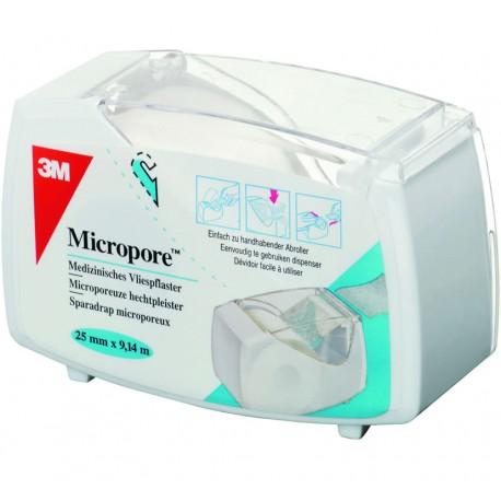 MICROPORE 3M - Sparadrap Blanc 2,50 cm x 9,14 m Dévidoir hermétique