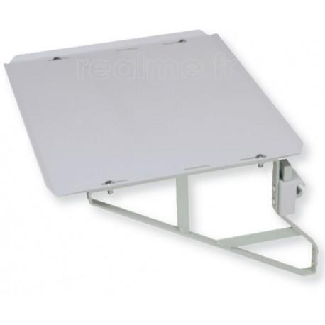Tablette rail medical 650x425 mm acier rilsanise avec équerres renforcees