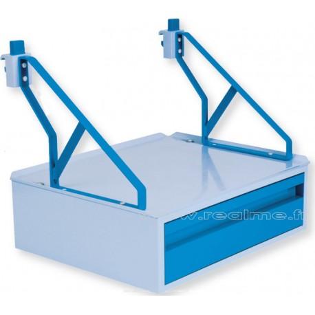 Tablette 500x400 mm avec 1 tiroir pour rail médical