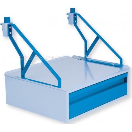 Tablette 650x425 1 tiroir pour rail mural hospitalier