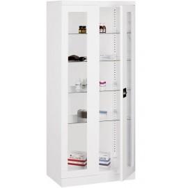 Armoire cabinet medical 2 portes vitrine