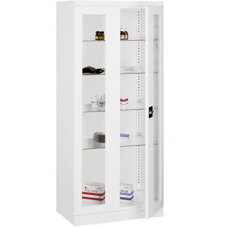 Armoire cabinet medical 2 portes vitrine